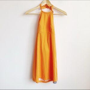 bright orange polka dot 90s halter mini dress